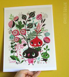 Gardens Love Warm Summer Rain - limited edition giclee print by Helen Dardik