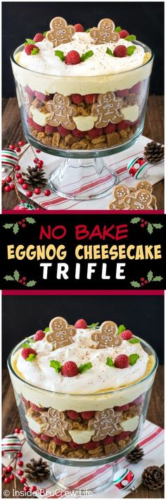 No Bake Eggnog Cheesecake Trifle - layers of cookies, berries, & cheesecake creates an impressive but easy dessert. Great recipe for Christmas parties!