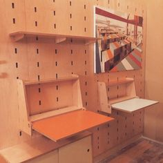 """""""Adult kerf wall desk and kid size kerf wall desk. Flipping fun for all ages. #kerfdesign #kerfwall #flipdowndesk #weloveplywood"""""""