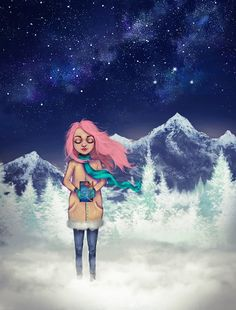 """Dziewczyna z książką""  Julita Batko   ACOMAF girl illustration digital painting snow book mountain Velaris"
