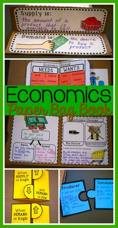 Students make a book about economics using paper bags. Covers basic economics concepts for grades Keep everything in one place and then send it home as a unique keepsake. The printable pages also fit in a standard size notebook. Economics For Kids, Basic Economics, Teaching Economics, Economics Lessons, Student Teaching, Economics Vocabulary, Home Economics Classroom, Economics Humor, Business Education Classroom