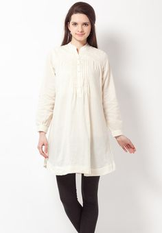 Pleated Cotton Off White Kurta Online Shopping - Biba | BI021WA93OKWINDFAS