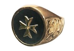 Onyx Heraldic Maltese Cross Scottish Gold Plated by Regnas on Etsy, $229.00