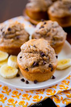 Skinny Peanut Butter Banana Muffins. Packed with flavor, whole wheat, and sweetened with honey. sallysbakingaddiction.com