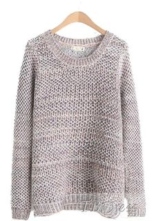 Comfortable Coffee Loose Round Neckline Knit Sweater