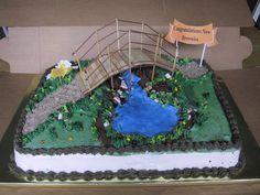 Brownie bridgeing cake.  I made the bridge, too.