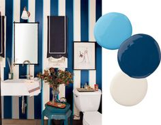 """best paint color combinations navy, turquoise, & white Combine two lively blues and an off-white to create a wallpaper look for your powder room.   Paint color: """"Patriot blue"""" by Ralph Lauren Paint color: """"Baby boy blue"""" by Benjamin Moore Paint color: """"Pearl latex"""" by Ralph Lauren"""