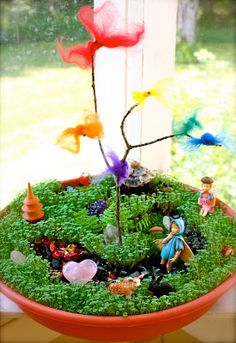 Found!!!! The perfect weekend project! A miniature Fairy garden complete with grass and wings and other pretty things. …Whimsy in it's most magical form. I came across this charming gar…
