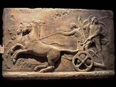 This Alexander the Great on a Chariot sculpture relief plaque is reproduction of a sculpture by the famous century Danish sculptor Bertel Thorvaldsen. Three Horse Chariot wall Plaque for sale by ASG.