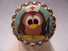 Befuddled Nurse Owl Swarovski Crystal Bling ID Badge Holder Retractable Reel. $11.00, via Etsy.