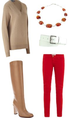 With a mix of camel and white, red jeans look cozy for winter Red Pants Outfit, Red Jeans, Wear Red, Complete Outfits, Work Attire, Autumn Fashion, Casual Outfits, Clothes For Women, My Style