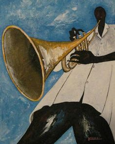 Original Acrylic Jazz Art Paintings by Ken Joslin: Original Jazz Art Trumpet Man Music Painting