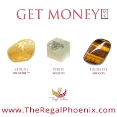The Get Money Mini Kit, handpicked by The Regal Phoenix is a beautiful combination of Citrine, Pyrite & Tigers Eye. The stones selected help you to increase prosperity and wealth as well as help you to make better decisions that lead to success. Chakra Crystals, Chakra Stones, Crystals And Gemstones, Stones And Crystals, Crystal Healing Stones, Crystal Magic, Crystal Grid, Citrine Crystal, Healing Crystal Jewelry