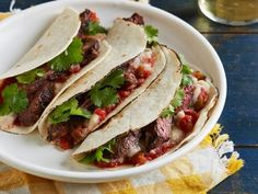 Salsa-Marinated Skirt Steak Soft Tacos with Refried White Beans recipe from Food Network Kitchen via Food Network Cookbook Recipes, Cooking Recipes, Healthy Recipes, Healthy Food, Yummy Recipes, Kosher Recipes, Party Recipes, Dinner Recipes, Tamales