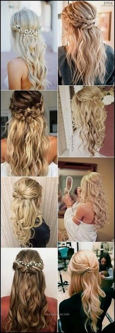 2020 fashion ombre blonde wigs blonde balayage straight hair 30 half up half down and updo wedding hairstyles from mpobedinskaya Frontal Hairstyles, Box Braids Hairstyles, Down Hairstyles, Straight Hairstyles, Hair Updo, Hair Plaits, Updo Curls, Dress Hairstyles, Hairstyle Ideas