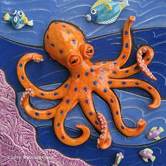 Octopus Garden Ceramic Tile Art Sculpture: Rady Children's Hospital new Acute Care Pavilion public art installation. This ceramic sculpture was fashioned to help create a positive healing and uplifting environment.