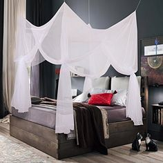 Truedays® Four Corner Post Bed Princess Canopy Mosquito Net Full Netting, Queen Size *** Want additional info? Click on the image.