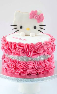 Hello Kitty Ruffled Cake … . Hello Kitty Ruffled Cake …Hello Kitty Birthday Cake Idea. For this week's edition of Hello Kitty Cake & Other Character Hello Kitty Torte, Bolo Da Hello Kitty, Hello Kitty Birthday Cake, Hello Kitty Cupcakes, Hello Kitty Cake Design, Pretty Cakes, Cute Cakes, Yummy Cakes, Anniversaire Hello Kitty