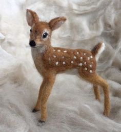 Needle Felted Deer Fawn, White Tailed, Wool