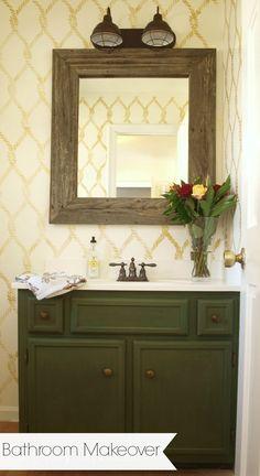 Green Bathroom Vanity Makeover