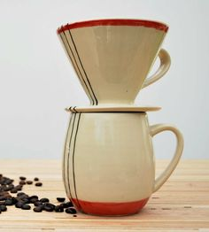 Pour Over Stoneware Coffee Mug Set by Toast Ceramics on Scoutmob Shoppe. A wheel-thrown, hand-painted piece that brews up a single cup. (And would look snazzy on your desk, if we do say so.)