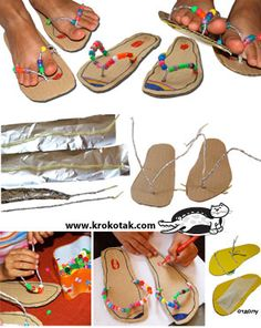 Cardboard-SANDALS craft alternative to purchasing foam Vbs Crafts, Bible Crafts, 4 Kids, Art For Kids, Projects For Kids, Crafts For Kids, Pumpkin Art, Armor Of God, Vacation Bible School