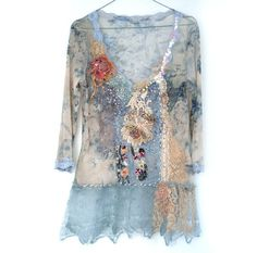 FleurBonheur on Etsy. Sheer Romance,- blouse, textile collage with antique lace and mohair, sequins, beading, wearable art