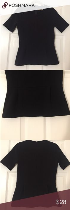 Madewell Tailored Peplum Top Madewell Tailored Peplum Top. Poly/cotton with a hint of stretch. Subtle horizontal ribbing adds soft definition to a structured peplum top. Size small. Madewell Tops