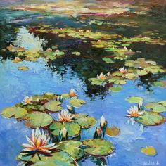 49 Original Artworks curated by Katherine Henning, Inspired by Monet and Impressionism. Original Art Collection created on Water Lilies Painting, Pond Painting, Lily Painting, Art Tumblr, Lily Pond, Art Design, Landscape Paintings, Saatchi Art, Original Paintings