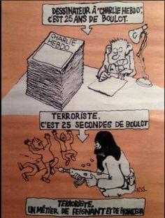Charlie Hebdo 14/01/15. Qui peut critiquer ce dessin ? Identification ou accord... avec le terrorisme ? ! ?