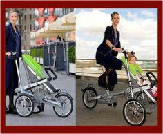 Que les parece este coche de bebé y bicicleta, para pasear a tu bebé y hacer un poco de jercicio