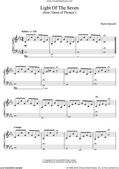 Djawadi - Light Of The Seven (from Game of Thrones) sheet music for piano solo Key Change, Saxophone Players, Soloing, Piano Sheet Music, The Seven, Game Of Thrones, Words, Easy, Sheet Music