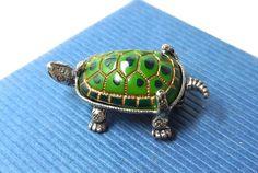 Vintage Turtle Brooch BEAUCRAFT Sterling Green by JewlsinBloom