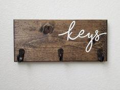 Key Hooks for Wall, Wood Key Holder, Farmhouse Decor Entryway Organizer Wood Sign With Hooks – pants hanger diy Do It Yourself Organization, Entryway Organization, Entryway Decor, Organized Entryway, Key Hooks For Wall, Wall Key Holder, Diy Key Holder, Key Holders, Wooden Key Holder