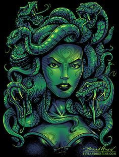 Medusa T-Shirt Design - Flyland Designs, Freelance Illustration and Graphic Design by Brian Allen - Medusa Gorgon, Medusa Kunst, Medusa Art, Medusa Tattoo, Fantasy Creatures, Mythical Creatures, Bux Bunny, Aztecas Art, Totenkopf Tattoos