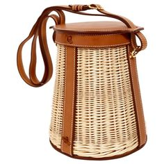 5503032ee8a1 very rare HERMES Farming Picnic Osier bag in wicker and veau barenia leather