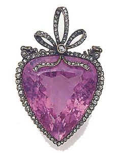 French Belle Époque pink tourmaline and rose-cut diamond pendant.