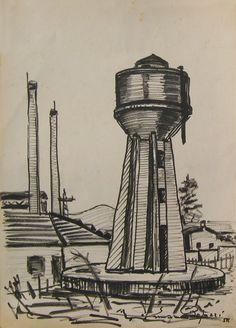 E. Besozzi pitt. 1955 Silos pennarello su cartoncino cm. 23,3x32,5. arc. 767