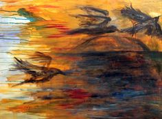 """Take off, 2014, acrylic on canvas. 30x40""""   This is an acrylic abstract painting of birds in flight over a body of water. The colors are bold southwest blends of yellow, oranges, blues, and reds.  It is currently hanging at Canyon Cafe, in Phoenix, Arizona."""