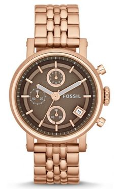 Fossil Original Boyfriend Chronograph Rose Gold Tone Womens Watch ES3494