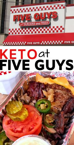 Ordering keto at five guys could not be any EASIER! You pretty much can eat everything except the FRIES ;) That being said check out our guide to ordering keto at five guys including carb count details. We include all the toppings you can go to town on! Low Carb Burger, Keto Burger, Low Carb Keto, Ketogenic Diet Meal Plan, Diet Plan Menu, Diet Meal Plans, Keto Meal, Five Guys, Low Carb At Restaurants
