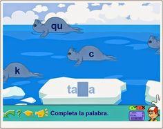 """""""Las focas"""", de Pipo, juega a completar palabras con las letras adecuadas para los sonidos """"k"""" (c, k q) y """"z"""" (c y z). Las palabras están escritas en los bloques de hielo mientras las focas con las letras pasan nadando por delante."""