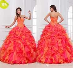 Vintage 2014 New Beaded Crystal Sweetheart Backless Hot Pink And Orange Quinceanera Dresses Pleats Prom Ball Gown Floor Length