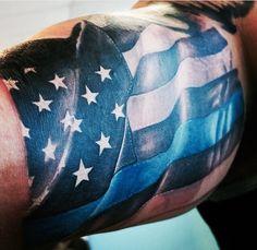 Arm tattoo Cop Tattoos, Navy Tattoos, Badass Tattoos, Music Tattoos, Line Tattoos, Trendy Tattoos, Tattoos For Guys, Flag Tattoos, Arm Tattoo