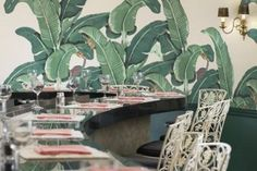 "Banana Leaf Wallpaper at the Beverly Hills Hotel Coffee Room - http://designerwallcoverings.com ""Martinique"""
