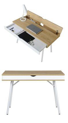 table bureau moderne esprit nordique avec tiroir rangement et cachette