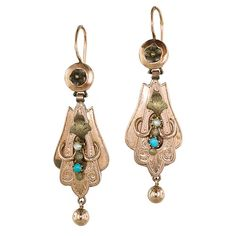 Victorian Turquoise and Seed Pearl Earrings - 20-1-4216 - Lang Antiques