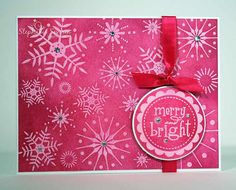 handmade Christmas card from Smilyn Steph: Resisting Pink Snowflakes ... hot pinks ... emboss/resist technique ... gorgeous snowflake background stamp embossed clear on pink ... several shades of hot pink blended on top ... wow colors!!