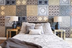 This project is one of Nina's most nationally and internationally well-recognized projects. With blog recognitions of this project all over the United States, Europe and Asia, to being saved in over 67,000 idea books on Houzz, this bedroom became most well known for the inimitable faux finished tin tile wall.