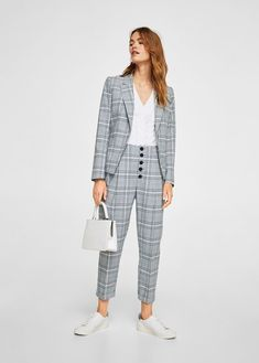 New Autumn Vintage Plaid Blazer Coat Women Elegant Gray Long sleeve Single Button Female Suit Blazer Winter Women's Jacket Blazer Outfits Casual, Plaid Pants Outfit, Plaid Blazer, Checked Suit, Checked Trousers, Karohosen Outfit, Suits For Women, Clothes For Women, Office Outfits Women